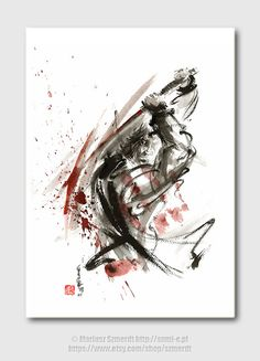 Samurai sword Ronin Tattoo design warriors fight by Szmerdt, $30.00