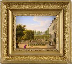 Zwei Bildplatten Erstes Drittel 19. Jhdt. Originalrahmen. Eine Platte mit Ritzzeichen. 17,5 x 20 c — Porzellan