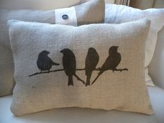 Cute burlap birds on branch pillow by TheNestUK on Etsy https://www.etsy.com/listing/74120983/cute-burlap-birds-on-branch-pillow