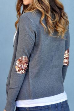 Sequin Elbow Patch Cardigans #sequin #elbow #patch