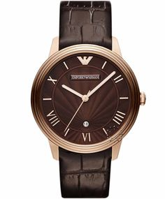 Emporio Armani Classic Brown Leather Strap, 259€ http://www.oroloi.gr/product_info.php?products_id=30876