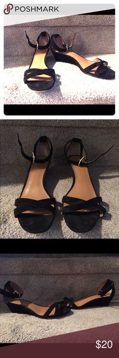 J Crew black sandals J Crew black sandals with low wedge and ankle strap J. Crew Shoes Sandals