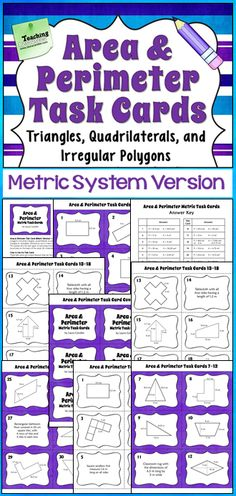 Area and Perimeter Task Cards (Metric Version) for advanced area and perimeter skills including quadrilaterals, triangles, and irregular polygons. Word problems included, too! Perfect for advanced 5th grade or for 6th grade! $
