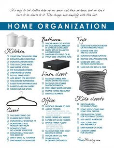 I simplified and organized my house, room by room Home organization and simplify printable checklist, room by room. Some good advice here!Home organization and simplify printable checklist, room by room. Some good advice here! Organisation Hacks, Household Organization, Life Organization, Printable Organization, Household Binder, Paper Organization, Household Items, Declutter Your Home, Organizing Your Home