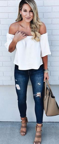 #summer #outfits White Off The Shoulder Top + Ripped Skinny Jeans + Brown Studded Sandals // Shop this exact outfit in the link