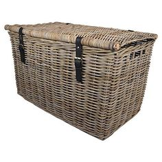 Wicker Storage Trunk Chest Hamper Lidded Basket, Wicker Basket with Lid Made From Untreated Natural Rattan and Wicker Chest Chest, Grey cm Wicker Storage Trunk, Wicker Hamper, Hamper Basket, Rattan Basket, Storage Baskets With Lids, Basket Shelves, Basket Storage, Storage Chest, Rattan Garden Furniture