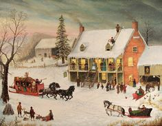 Platter Grove Inn Canvas Art - Joseph Holodook x Kitsch, Grandma Moses, Currier And Ives, Christmas Art, Christmas Scenery, Christmas Villages, Christmas Christmas, Vintage Christmas, Primitive Folk Art
