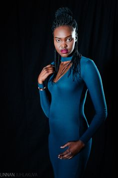 Fashion, blue dress and ethnic model.