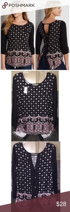 NWT💗 Maurices Patterned Top w/ Buttoned Down Back NWT!💗 This top is so soft and light and shows just enough to still look extremely flattering on 🙌 Smoke free/pet free home🏡 If you don't like the price, feel free to make me an offer or add it to a bundle and I will send you an exclusive offer! ☺️👍 Maurices Tops Blouses