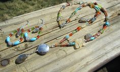 Multi-gemstone Necklace & Earring Set with Labradorite Dangles, Sterling Silver Pendant, Pewter by PeaceofNatureJewelry on Etsy