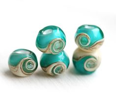 Glass Lampwork beads Teal green ocean water beach by MayaHoney