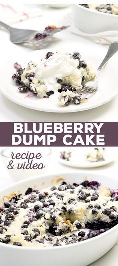 "Blueberry dump cake for when you want to eat a cake, but don't feel like, well, baking. Just ""dump"" all the ingredients in & pop it in the oven!"