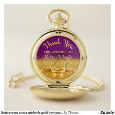 Retirement nurse midwife gold bow purple thank you pocket watch