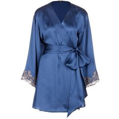 La Perla 'Maison' floral embroidered silk blend robe ($1,235) ❤ liked on Polyvore featuring intimates, robes, blue, la perla, embroidered bathrobes, blue robe, embroidered bath robe and blue bathrobe