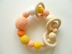 Teething Toy with Crochet Beads and 3 Wooden Rings. Wooden Rattle. Teething Ring
