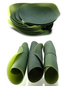 New York-based Japanese designer Nao Tamura has just presented a beautiful, new collection of dishes inspired by cherry leaves. Debuting at the last Salone Satellite, part of Milan's furniture fair for up-and-comers, the silicone kitchenware is perfect for anyone who enjoys a bit of nature indoors. The dishes can be rolled up, used in the microwave or oven, and is dishwasher safe.