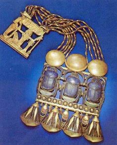 Egyptian Scarab | ... - Necklace with Triple Scarab Pectoral representing King Tutankhamun