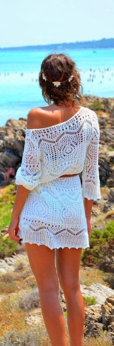 One Shoulder Lace Dress – White Summer 2014 Fashion Clothing Collection. Women Style Outfit