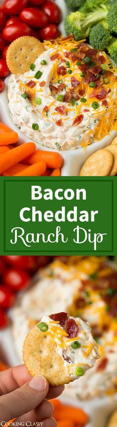 Bacon Cheddar Ranch Dip - this stuff is dangerous! Bacon Cheddar Ranch Dip – this stuff is dangerous! I kept reaching into my fridge for more, too good to resist. Served it at a party and it was a total hit! Party Snacks, Appetizers For Party, Party Dips, Appetizer Dips, Appetizer Recipes, Party Recipes, Bacon Appetizers, Dip Recipes, Potato Recipes