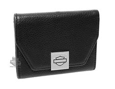 HarleyDavidson Womens Authentic BS French Black Leather Wallet -- Check this awesome product by going to the link at the image.