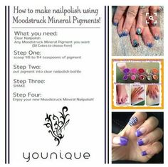 How to make nailpolish using Moodstruck Mineral Pigments! Woohoo! Www.BoldBeautifulMascara.com