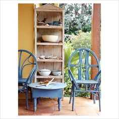 I love the blue chairs and little table
