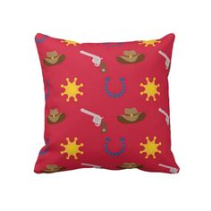 Cowboy Patterned Kids Pillow