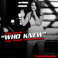 Video: Tess Boyer - Who knew - The Voice Save 2014 - 4/29/2014