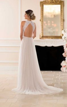 6707 Boho Wedding Dress with French Tulle by Stella York Sweet Wedding Dresses, Lace Wedding Dress, Wedding Dress Pictures, 2015 Wedding Dresses, Designer Wedding Dresses, Tulle Wedding, Lace Dress With Sleeves, The Dress, Dress Lace