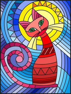 Imagens, fotos stock e vetores similares de Illustration in stained glass style with abstract red geometric cat - 714225499 Arte Pop, Pop Art, Dot Painting, Ceramic Painting, Geometric Cat, Illustration, Stained Glass Patterns, Doodle Art, Zentangle