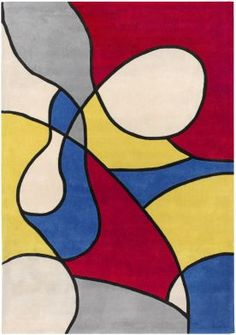 Cow Parade Cow Parade Red / Yellow Contemporary Rug - x - - Contemporary Rugs - Area Rugs by Style - Area Rugs Contemporary Rugs, Modern Rugs, Hue, Cow Parade, Three Primary Colors, Synthetic Rugs, Principles Of Art, School Art Projects, Hand Tufted Rugs