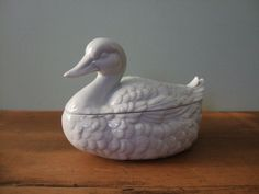 Vintage White Duck Lidded Dish Porcelain by jessamyjay on Etsy