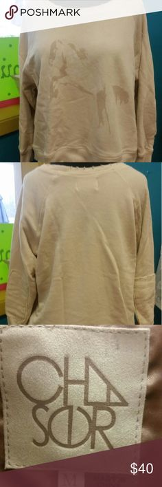Mcguire sweatshirt Horses, distressed cozy clothes, Chaser brand...it gets no better! Excellent condition! Chaser Tops Sweatshirts & Hoodies