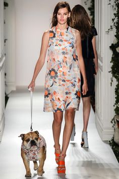 Mulberry Spring 2014 Ready-to-Wear Collection-- LOVE the bulldog appearance on the runway. This season's hottest accessory is definitely a furry companion