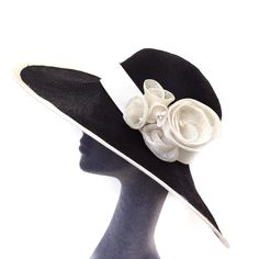 Mother of the bride wide brim hat. Black and white church hat. White Church Hats, Black And White Hats, Happy New Years Eve, Wide-brim Hat, Wedding Hats, Derby Hats, Handmade Items, Handmade Gifts, Mother Of The Bride
