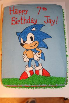 Sonic Cake cool idea for my sons bday cake! He loves sonic! Hope my best friend will help me