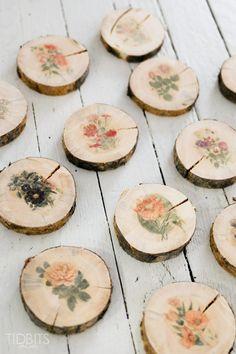 Botanical Wood Slices Tutorial | Easy DIY Image Transfer Method