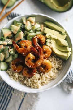 Teriyaki Shrimp Sushi Bowl | If you love sushi, you'll love this sushi bowl made with quinoa and topped with avocado and teriyaki shrimp!