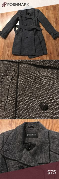 Guess grey black and white dot trench coat Guess trench coat Guess Jackets & Coats Trench Coats