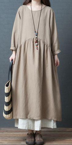 Fashion Loose Linen Maxi Dresses Women Fall Outfits – Linen Dresses For Women Muslim Fashion, Boho Fashion, Autumn Fashion, Fashion Outfits, Vintage Tops, Style Vintage, Linen Dresses, Women's Dresses, Vintage Dresses