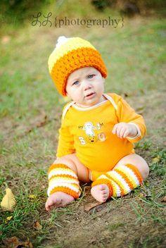 Newborn12M Candy Corn Beanie/Leg Warmers by EternalLightShop, $25.00