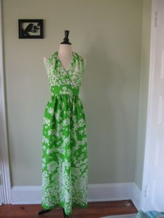 Vintage Lime Green Maxi Dress  60's/70's  Floral by MintMarket, By Etsy