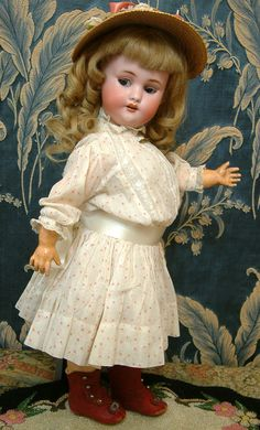 """17"""" Rare Simon & Halbig 1039 Flirting Mechanical Roulet & Descamps Walking Doll for the French Trade"""