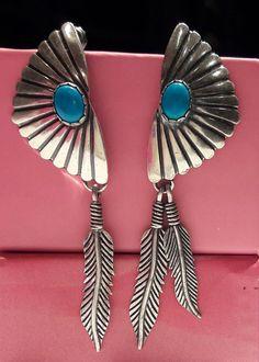Sterling Silver Navajo Post Dangle Earrings by artsandantiquesshop