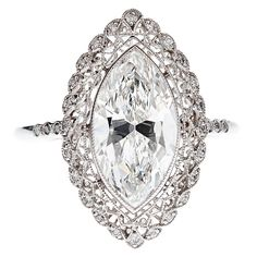 Marquise Cut Diamond & Platinum Filigree Ring w/ GIA -- like the filigree and the simplicity of the diamond band