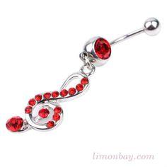 Piercing de ombligo. Grosor: 1,6mm. Con cristal de peridot y diseño colgante de clave de Sol en color rojo. Largo de la clave: 23mm. Comprar piercings online, 4.69