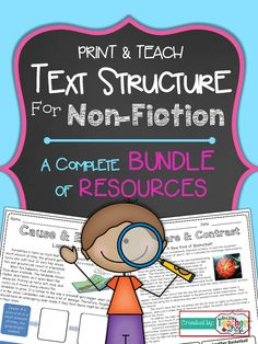 A BUNDLE of Non-Fiction TEXT STRUCTURE resources! Practice Sheets, Review Activity, Review Activity, Test. For 4th and 5th grade: Compare Contrast, Cause Effect, Problem Solution, Chronological Order. $