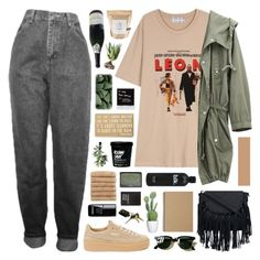 """""""The world is filled with nice people."""" by novalikarida ❤ liked on Polyvore featuring Potting Shed Creations, Puma, Primitives By Kathy, Muji, Linum Home Textiles, Alöe, TradeMark, Casetify, NARS Cosmetics and Ray-Ban"""