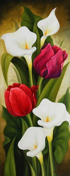 Assinado ainda vida pintura de tulipas e lírios - tulipas e lírios 2 | NOVICA