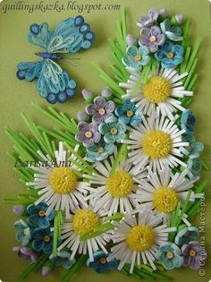 Картина панно рисунок Квиллинг Незабудки и ромашки Бумажные полосы фото 1